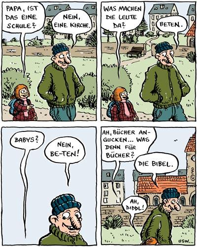 Comic Papa, wann essen wir mal ein Pferd?
